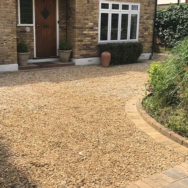 Loose Gravel With Block Border